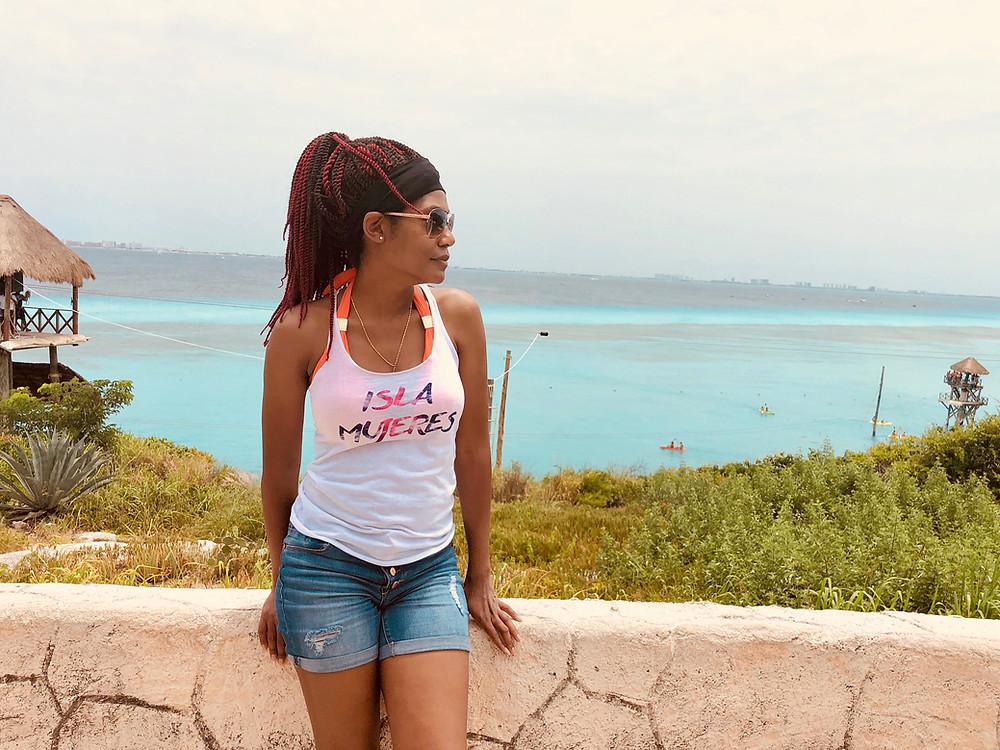Sheena enjoying the view over the Garrafon in Isla Mujeres