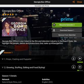 Georgia Box Office Amazon Prime page
