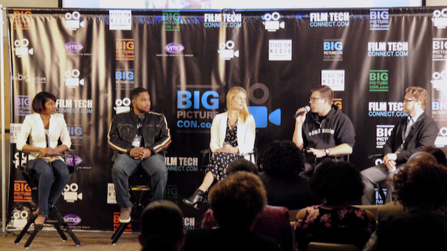 The Georgia Box Office film industry panel at Big Picture Con 2018 (L-R: Sheena Wiley, Brian McGee, Sharena Hall, Brad Lee Zimmerman, Bryan McBrien)