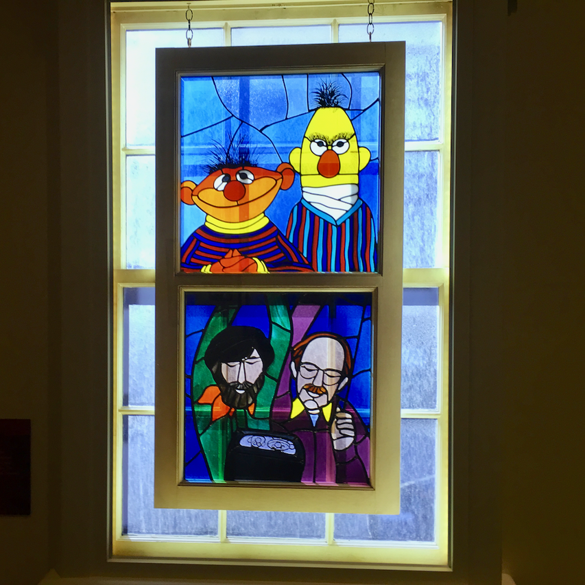 Jim Henson, Frank Oz, Bert and Ernie stained glass