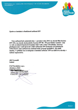 Správa o inštalácií a funkčnosti zariadení IPP v aquaparku Pardubice