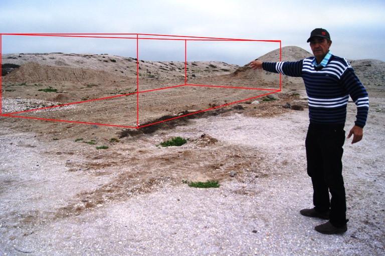 Proyección del lugar donde estaba la construcción.