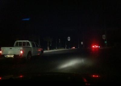 La ciudad con sus luminarias apagadas.
