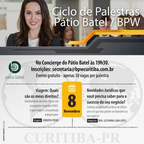 CICLO DE PALESTRAS PÁTIO BATEL - 08/11/2018