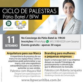 CICLO DE PALESTRAS - PÁTIO BATEL