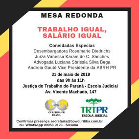 TRABALHO IGUAL, SALÁRIO IGUAL - 31/05/2019
