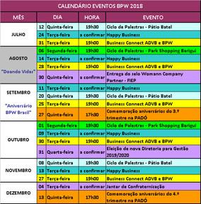 CALENDÁRIO EVENTOS 2.º SEMESTRE 2018