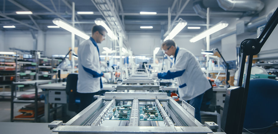 Shot of an Electronics Factory Workers A