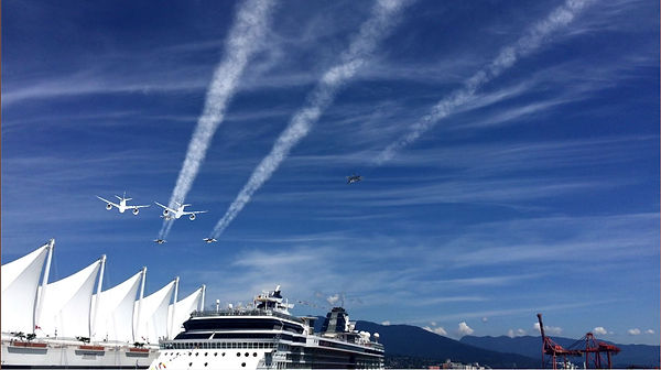 Airplanes in the sky over Canada Place in Vancouver from C7 Games augmented reality mobile game Air Show