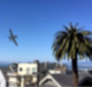 Airplanes in the sky over San Francisco from C7 Games augmented reality mobile game Air Show