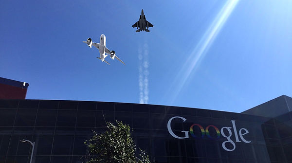 Airplanes in the sky over Google HQ from C7 Games augmented reality mobile game Air Show