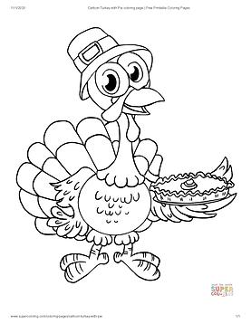Cartoon Turkey with Pie coloring page _