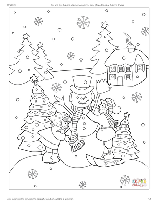 Boy and Girl Building a Snowman coloring