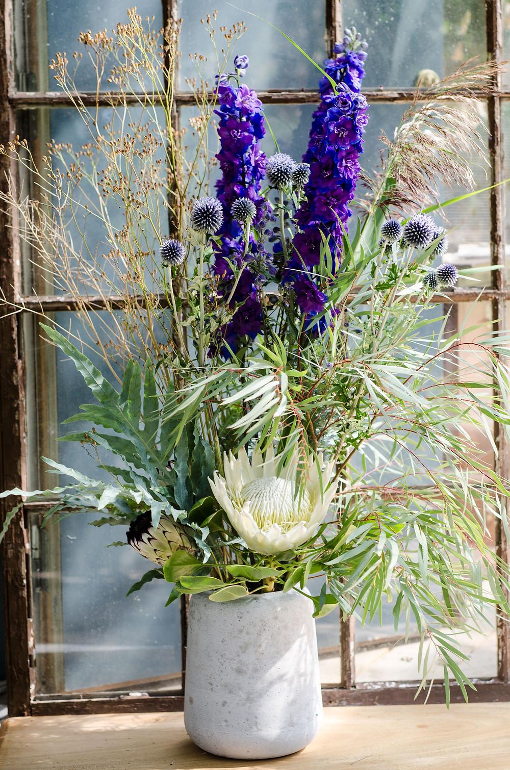 Hvit protea, blå riddersporer, tistler og tørkede ugressblomster er blant dagens utvalgte