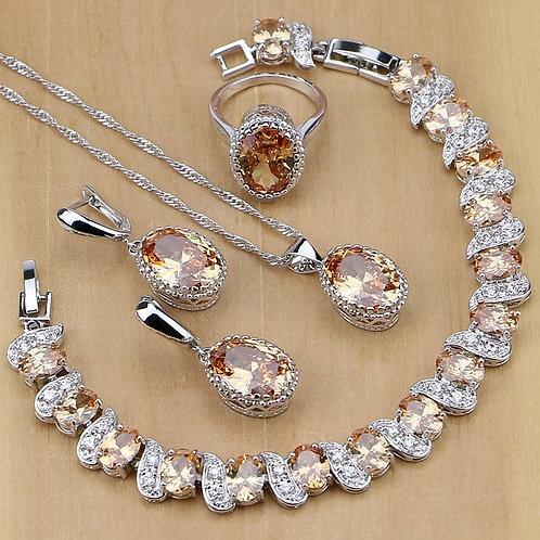 Jewelry Champagne Zircon Jewelry Sets  Earrings/Pendant/Necklace/Rings/Bracelet