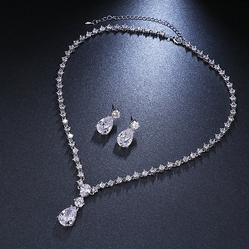 Cubic Zirconia Crystal Women Earrings Necklace Set