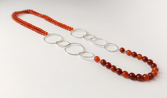 Mixed Media Necklace Red agate