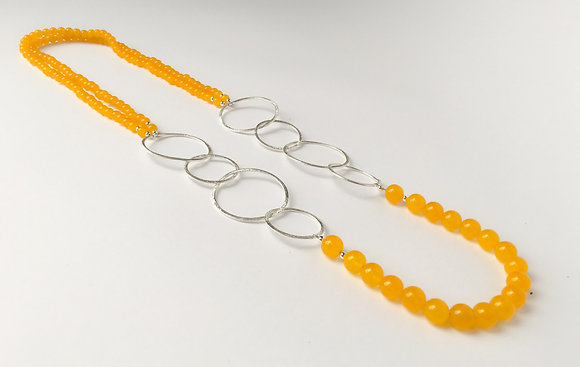 Mixed Media Necklace Yellow Agate