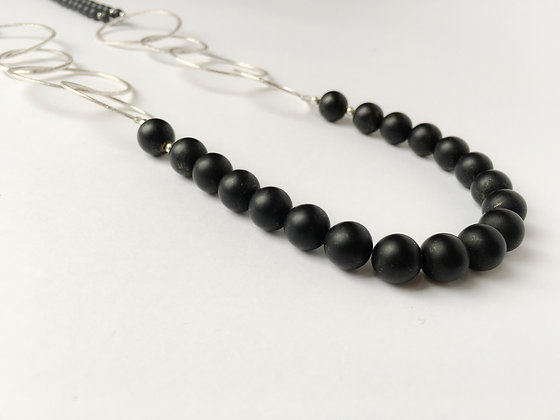 Mixed Media Necklace Frosted Black Agate