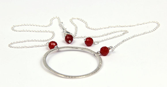 Red Agate Looking Glass Pendant