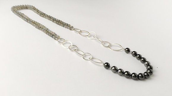 LIMITED EDITION Labradorite and grey shell pearl
