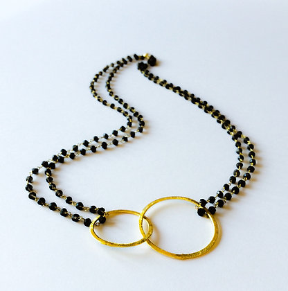 Smokey Quartz Bijou double ring necklace