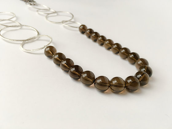 Mixed Media Necklace Smokey Quartz