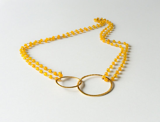 Yellow agate Bijou double ring necklace