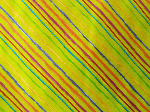 Lorailie Designs. Quirky Bias Stripe Lime