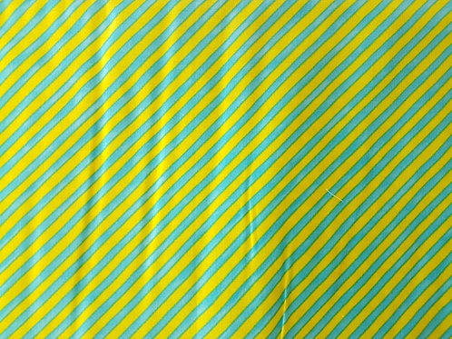 Lorailie Designs. Bias Stripe bold Yellow/Turquoise.