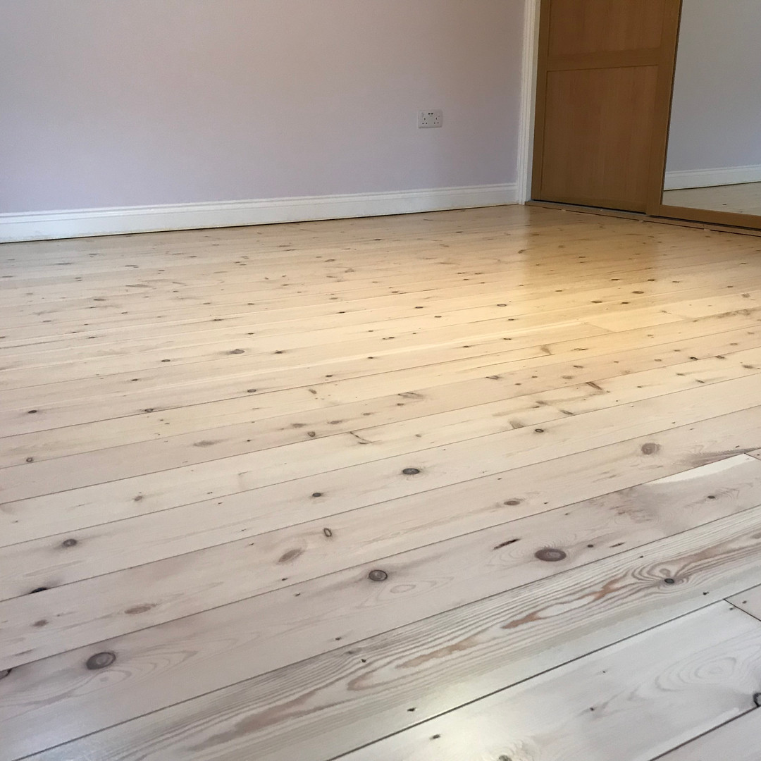 Floor sanding Northumberland- modern pine floorboards with white lacquer