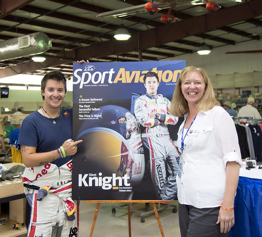 Flying aerobatic gliders led to Beth's first article on the cover of the July 2015 issue of EAA Sport Aviation magazine featuring Luca Bertossio's airshow debut at AirVenture 2015.