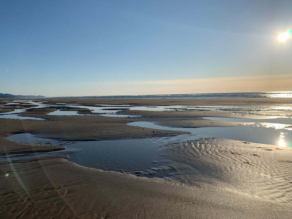 Manzanita, OR beach at low tide.