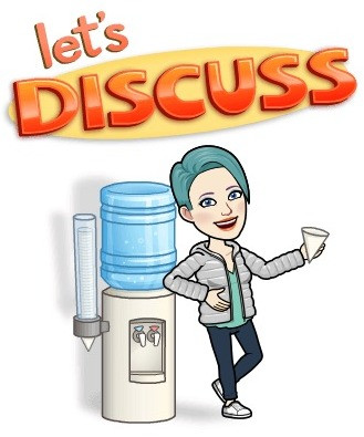 Avatar of Lyn saying Let's Discuss by water cooler.