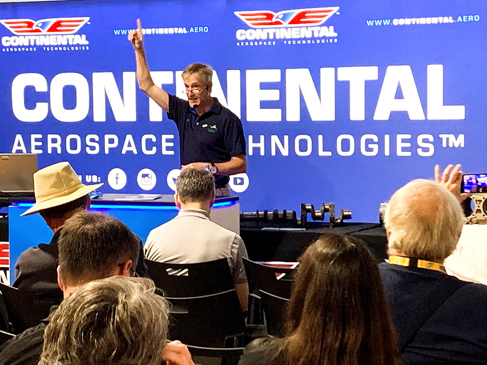 Erik Lindbergh announces partnership with his company VerdeGo AERO and  Continental Aerospace Technologies Monday morning at EAA Oshkosh AirVenture during a press briefing.