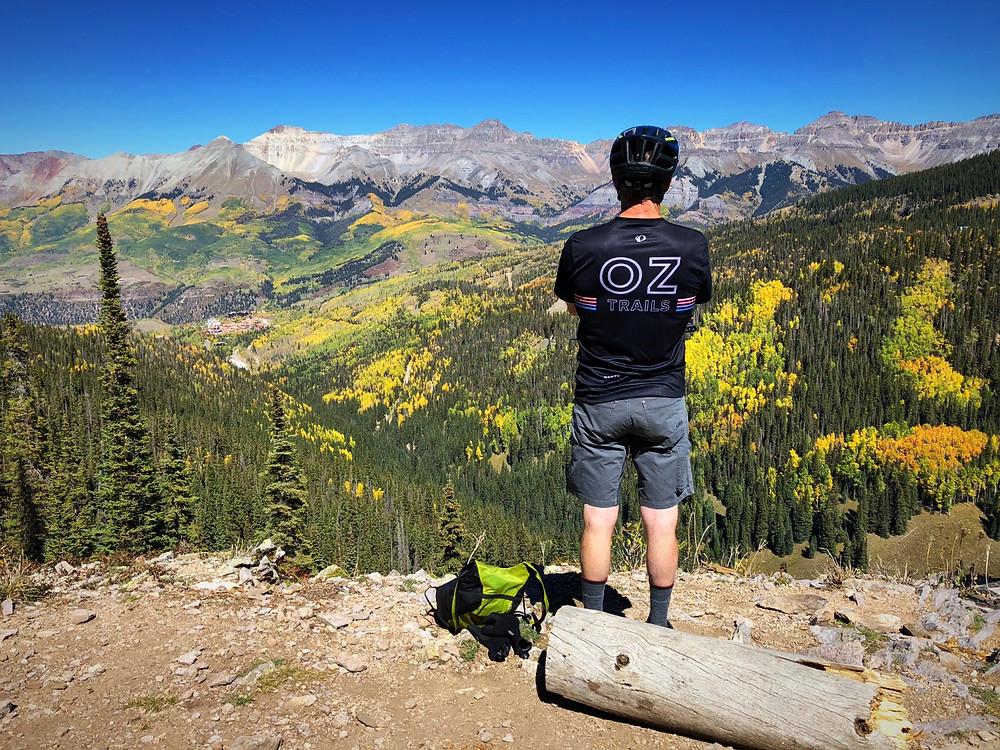 Erik Lindbergh looking at view at Telluride Colorado.