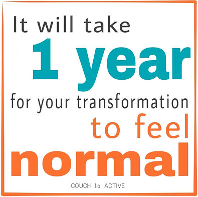 It will take 1 year for your transformation to feel normal. Finding time for exercise. COUCH to ACTIVE. Don't have time for exercise. Lyn Lindbergh. Fitness. Fitness Motivation.