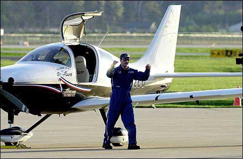Erik Lindbergh lands at LeBourget in Paris France in the New Spirit of St. Louis, a Lanceair 300.