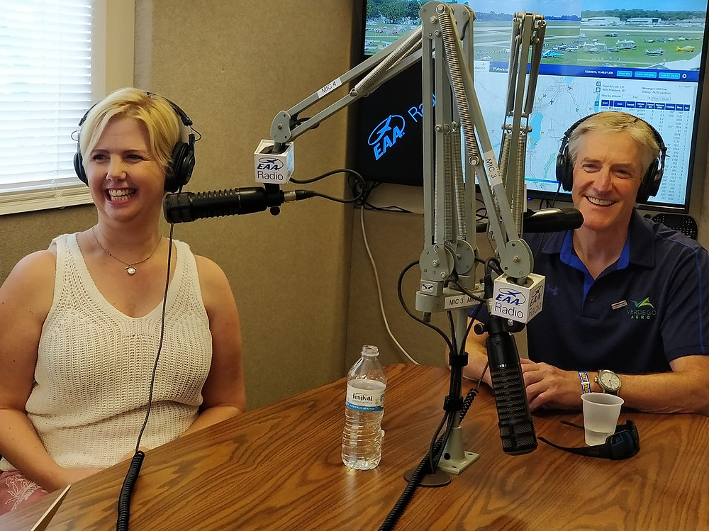 Lyn and Erik Lindbergh during their live EAA Radio interview where they share about their new podcast, The Lindberghs..