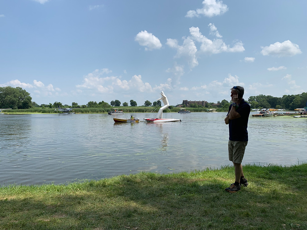 Fun at the seaplane base. Does anyone know the story behind this 20 foot tall friend on the water?