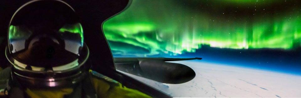 U2 High Altitude Flight - Northern Lights