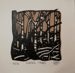 WELSH WOOD reduction lino cut