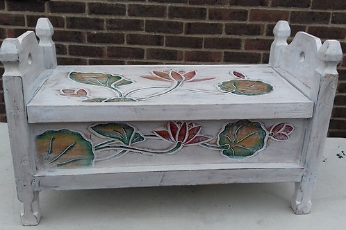 Stunning whitewash carved floral with coloured detail blanket box