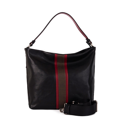 Gianni Conte black leather handbag with detachable shoulder strap