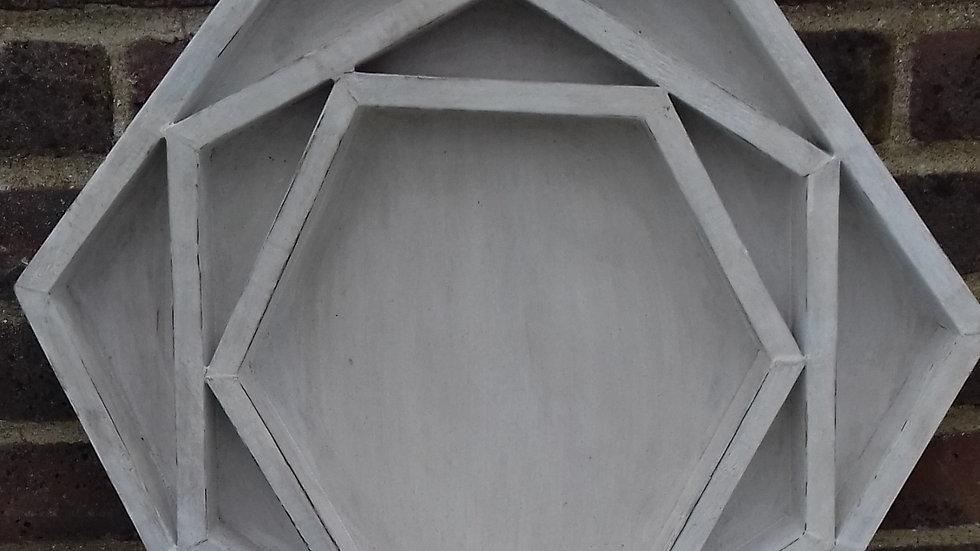 Hexagonal whitewash shelf unit or condiment tray