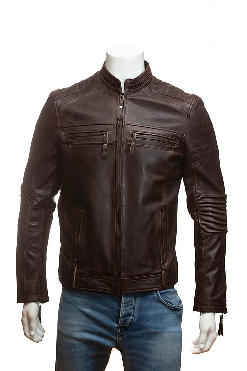 Thruxton Mens Brown Leather Jacket