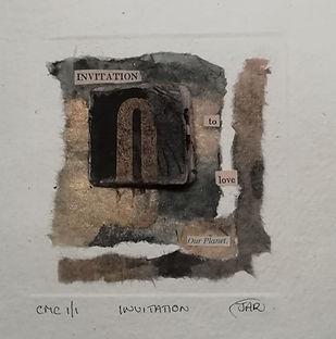 Invitation - Mixed Media collograph and