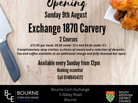 BOURNE CORN EXCHANGE TO SERVE UP SUNDAY LUNCHES