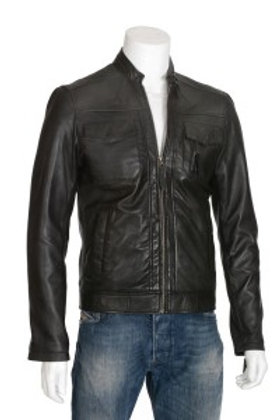 Lewis Mens Black Leather Jacket