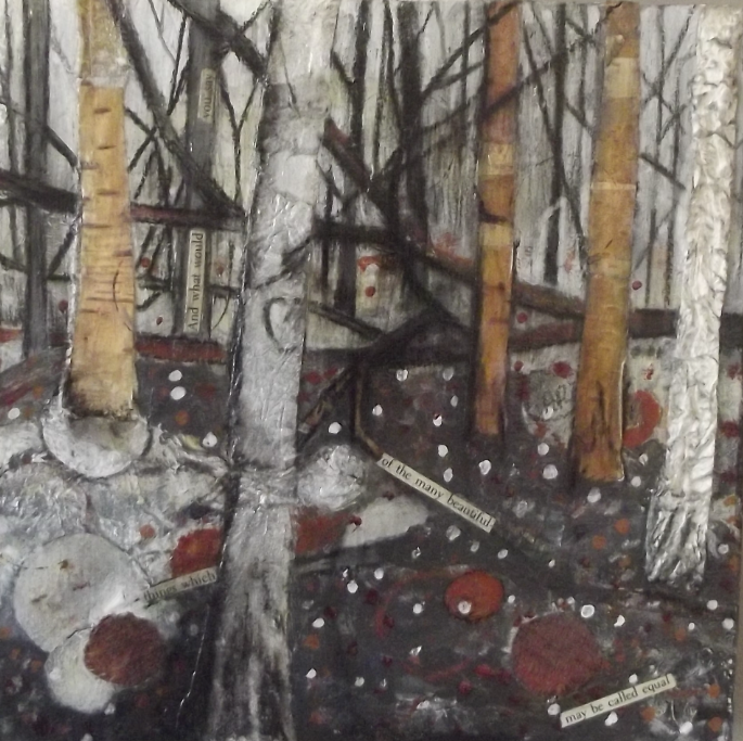 Woodlands lV - mixed media - SOLD& collage